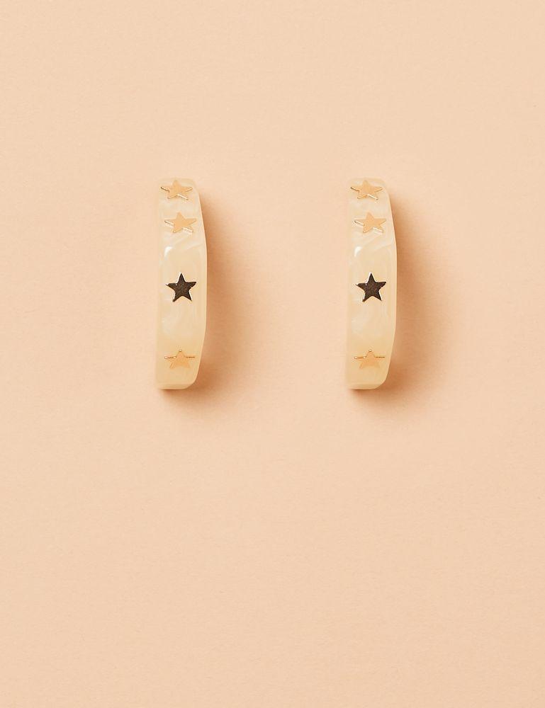 Par de brinco de argola rebite estrela